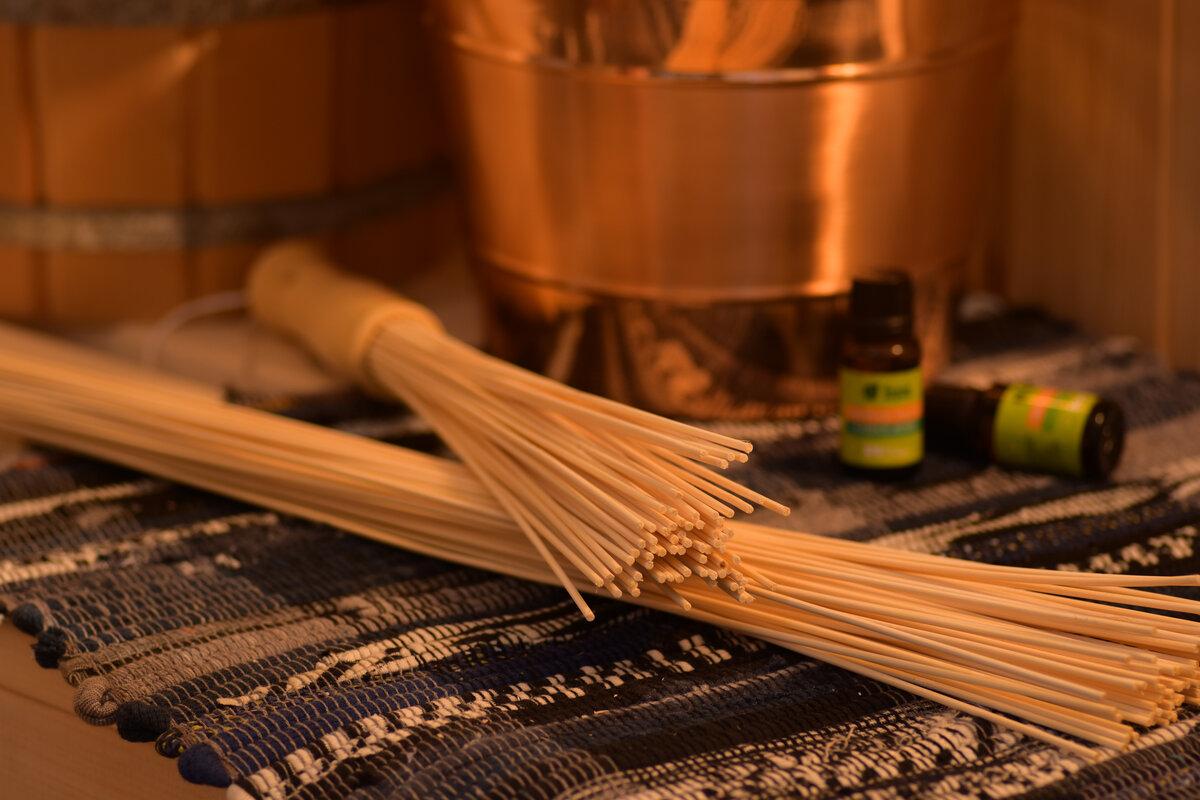Запаривание веника из бамбука